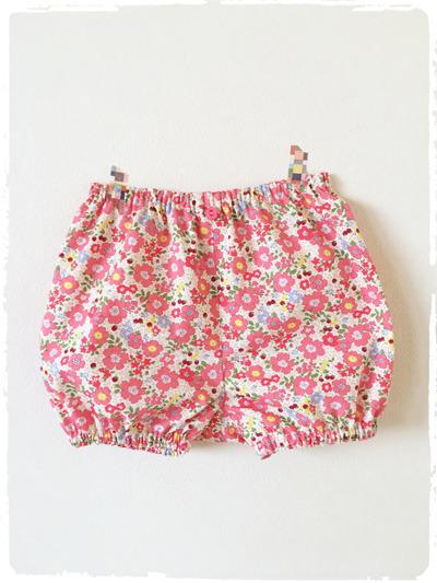 【再販です】ベビー用カバーパンツ・ブルマ *お花&イチゴ柄* ピンク