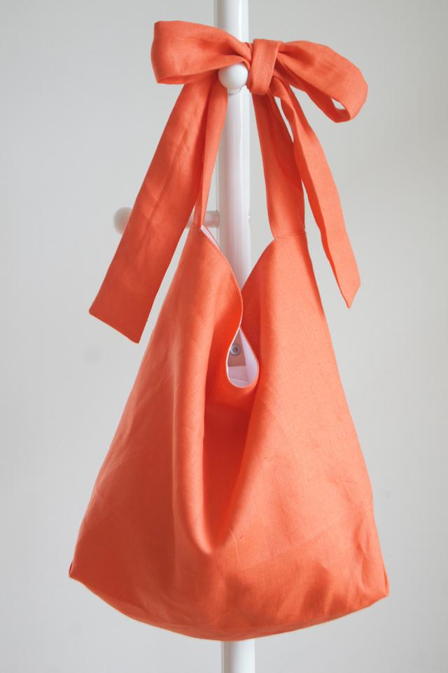 リネンリボンのバッグ(コーラルオレンジ)