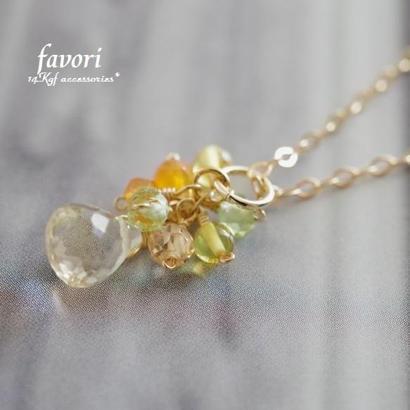 【一点物商品】レモンクォーツflowerネックレス 14Kgf製