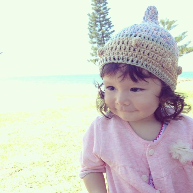 ベージュdots  S とんがり帽子 どんぐり帽子 子供用帽子