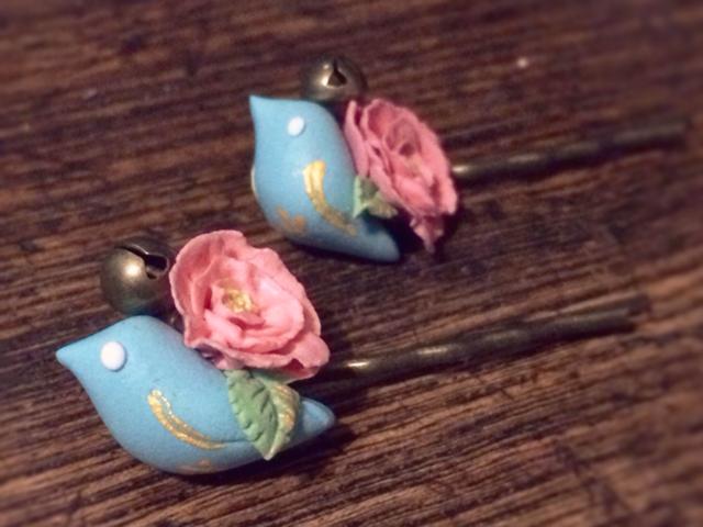 お花をしょった小鳥のヘアピン*左向き【*追加販売開始】