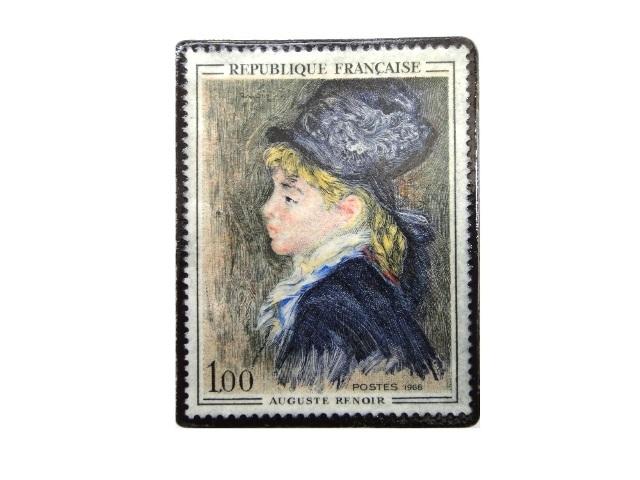 フランス1968年ルノワール「マルゴの肖像」切手ブローチ 228