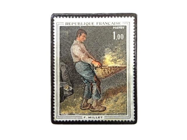 フランス1969年「ミレー」切手ブローチ 233