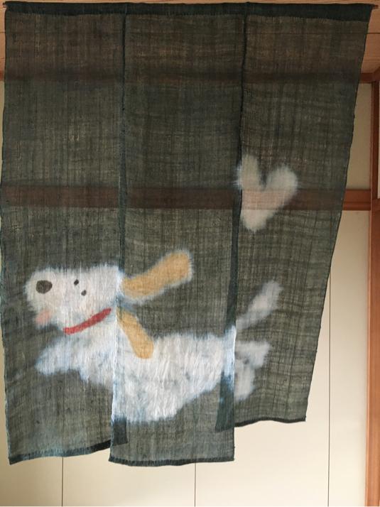 蚊帳布の暖簾・犬
