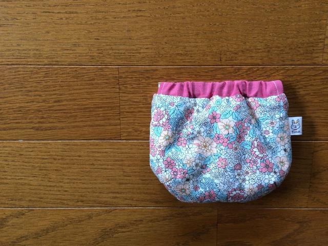 ふっくらバネポーチ*ピンク小花