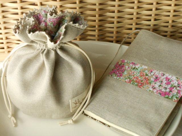 リネンと花柄のミニ巾着&文庫本用ブックカバーのセット(P)