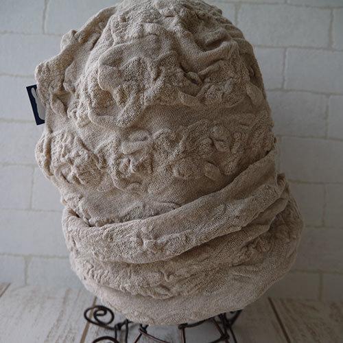 フラワー織柄コットン素材生地で作ったニット帽(ベージュ2)