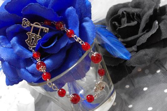 ヒビガラスのブレスレット 赤