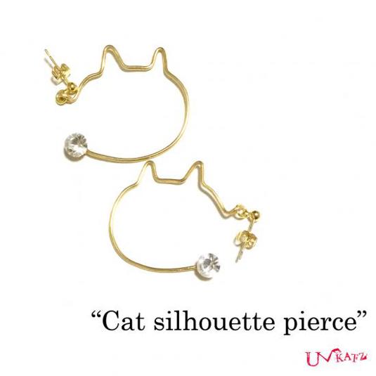 Ukatz NO.425 cat silhouette ピアス