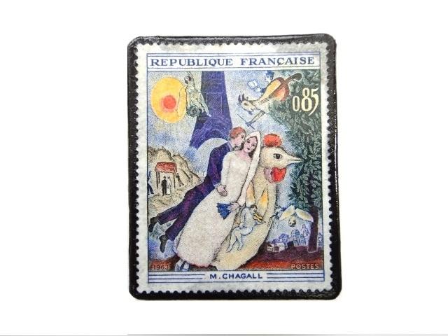 フランス1963年「 M・シャガール」切手ブローチ 230