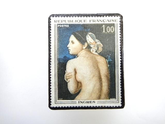 フランス1967年「INGRES」切手ブローチ 236