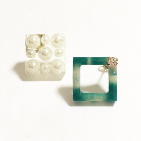 【送料無料】Pastel squre □ Pearl ◯ Asymmetry Pierce