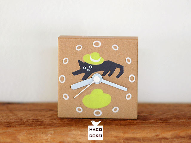 ダンボールの時計|はこどけい|猫と帽子