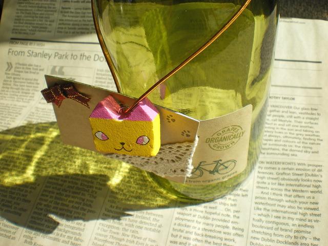 四角ネコのメッセージタグ・ピンク