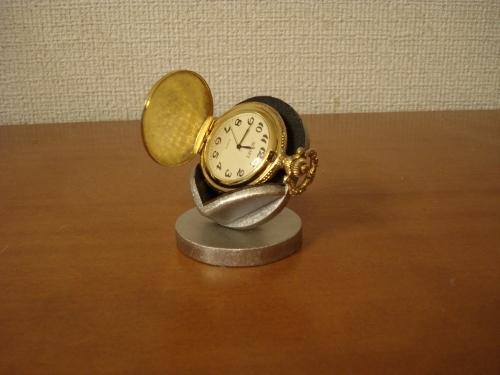 懐中時計スタンド 父の日に 横向き懐中時計蓋開きディスプレイスタンド ブラック