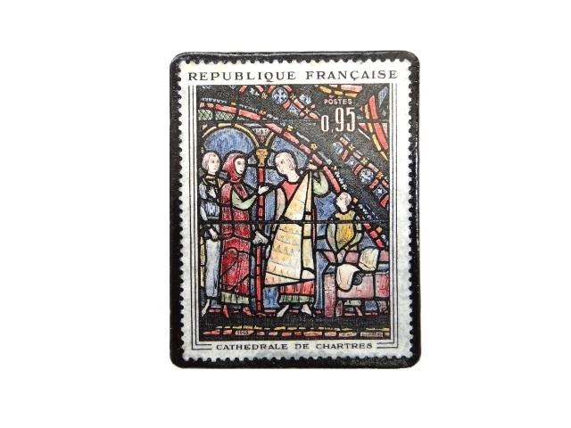 フランス1963年 切手ブローチ 240