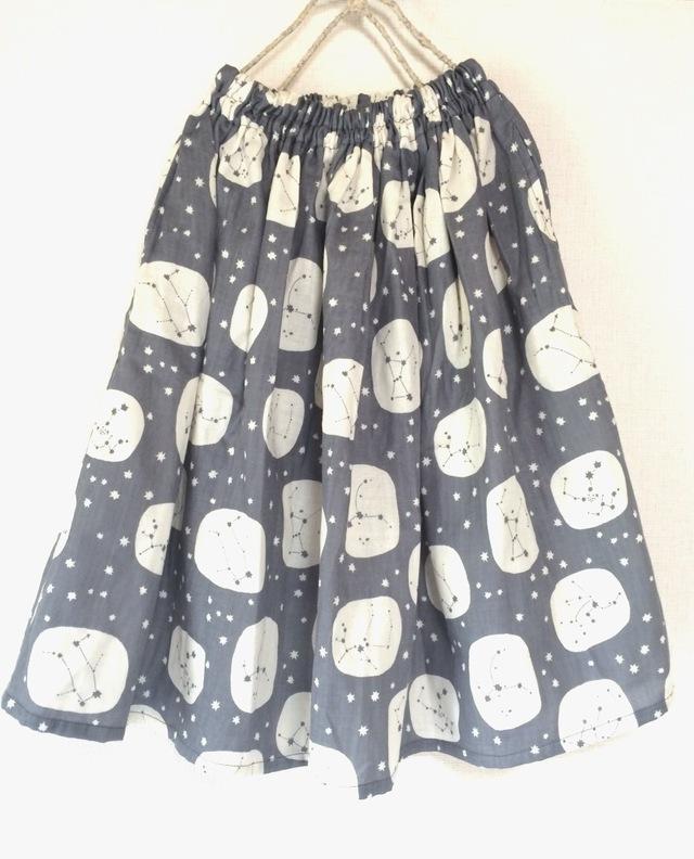 星座柄ギャザースカート:ふんわりダブルガーゼ:グレー