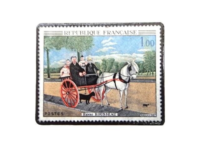 フランス1967年「ルソー」切手ブローチ 244