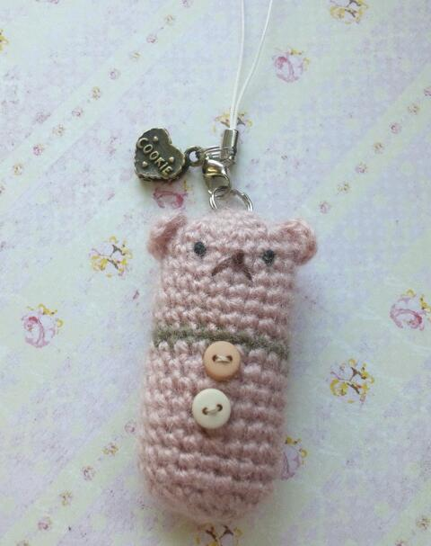 くまのストラップ(ピンク)