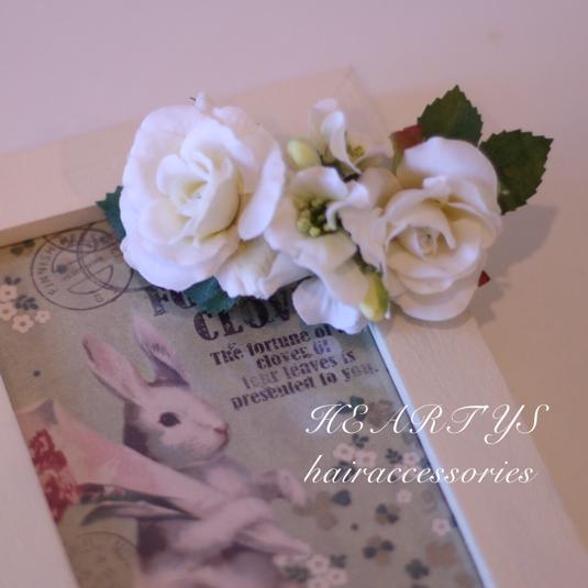 【土日限定!】1800円→1600円*ホワイトローズに包まれて…ブロッサムとホワイトローズのバレッタ♪【送料無料】