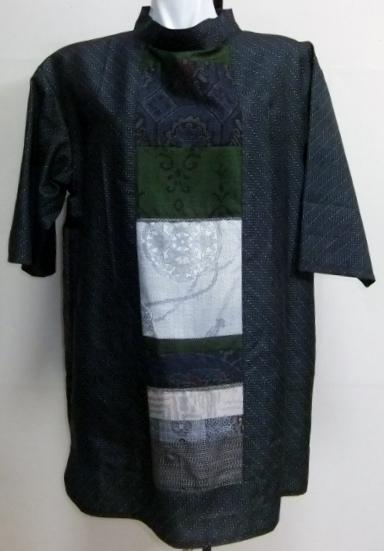 着物リメイク 正絹と大島紬の着物で作ったチュニックワンピース 1471