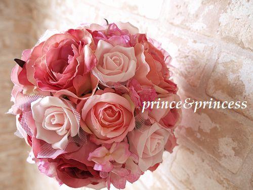 大人可愛いピンクのラウンドブーケ