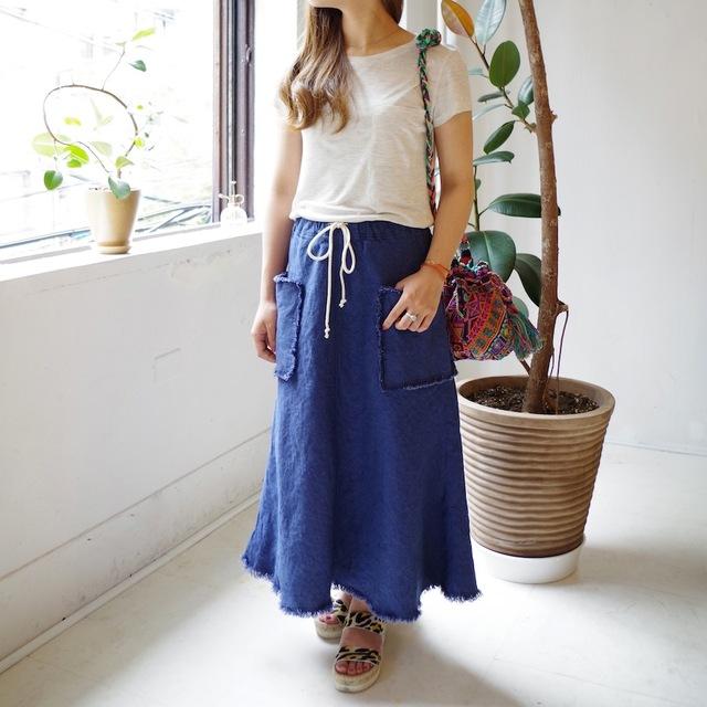 <ラスト1着>リネンのロングスカート(blue)