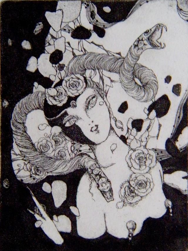 銅版画「黒いくちばし?」 ミニプリント