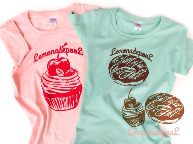 カップケーキ柄(ピンク)、ドーナツ柄(ミント)Tシャツ