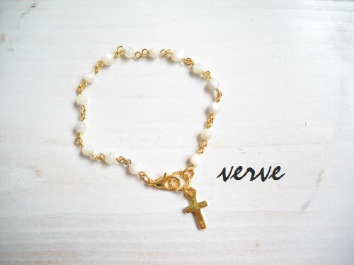 Cross Bracelet White MOP
