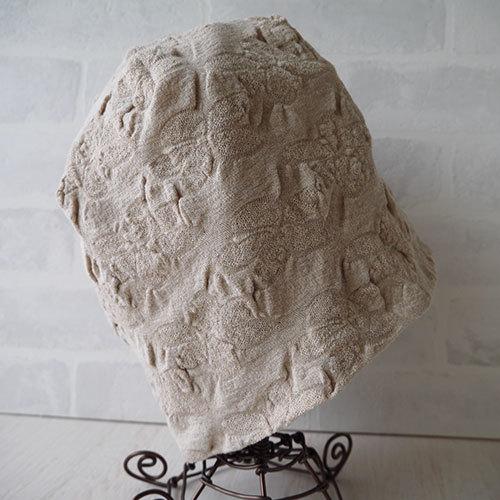 フラワー織り柄ニット生地で作ったニット帽(ベージュ3)