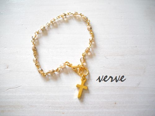 Cross Bracelet Champagne Gold Czech