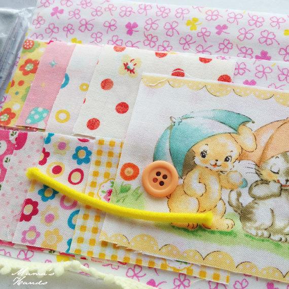 ★作成キット★ ネコ& うさぎ 黄色 ピンク系 カードケース