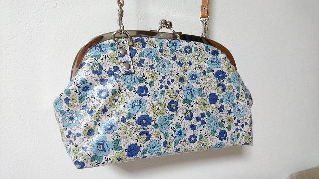 がま口バッグ YUWA花柄 ブルー