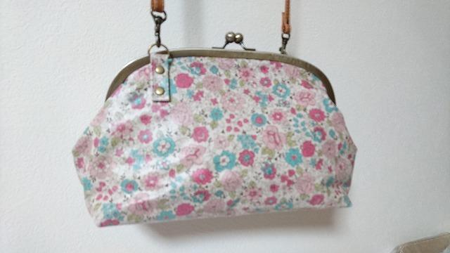 がま口バッグ YUWA花柄 ピンク