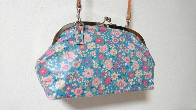 がま口バッグ YUWA花柄 ブルーグリーン