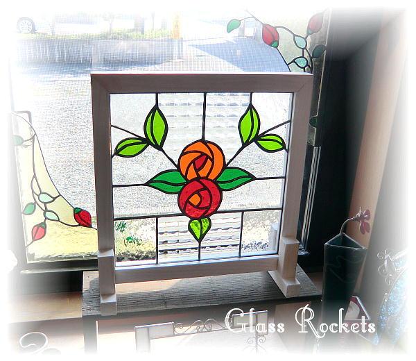 アンティークガラス ステンドグラス パネル 「rose(ローズ)」(再販)