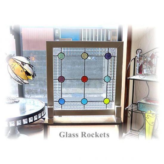 アンティークガラス ステンドグラス パネル 「drop(ドロップ)」