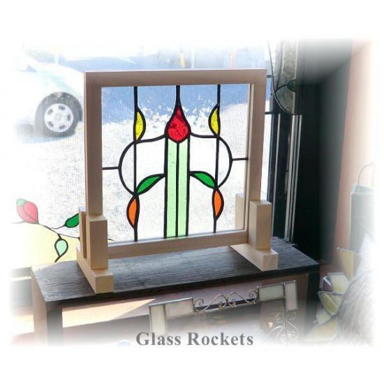 アンティークガラス ステンドグラス パネル 「Leaf(リーフ)」