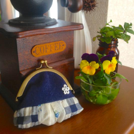 がま口 blue*flower