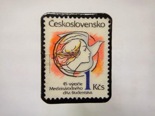 チェコスロバキア 切手ブローチ1144