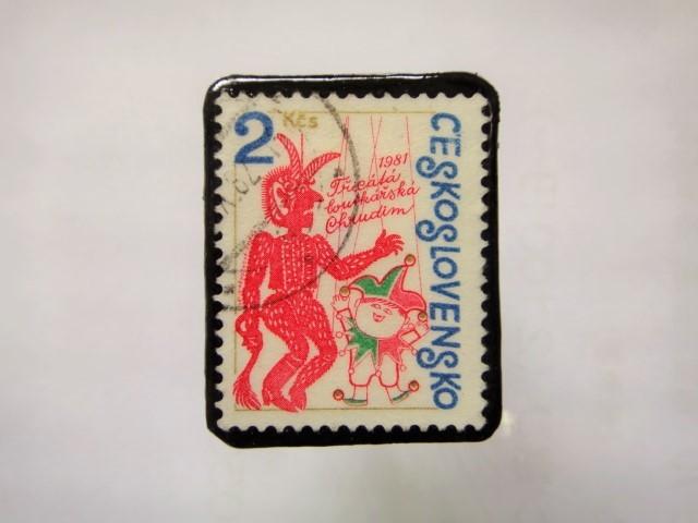 チェコスロバキア 切手ブローチ1145