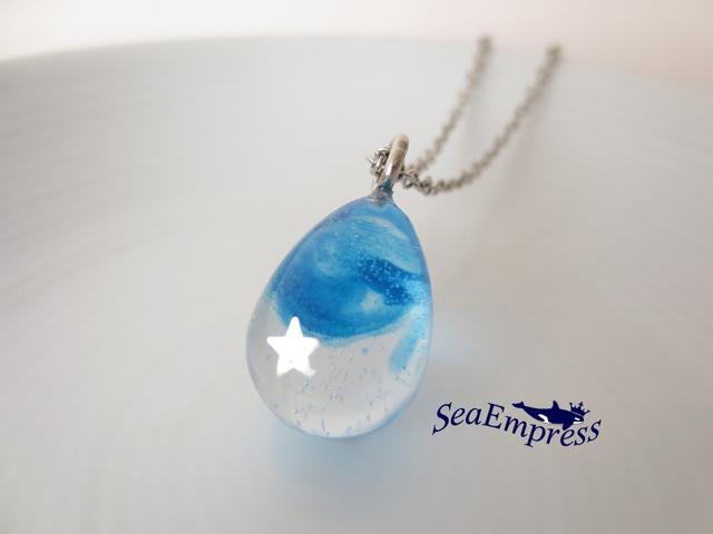 シルバー星と青い空な雫ネックレス