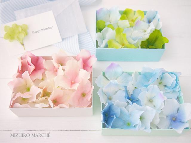 * Blue × White * 小さなあじさいカード + アジサイBOX *