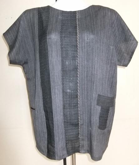 着物リメイク 綿と夏大島で作ったプルオーバー 1485