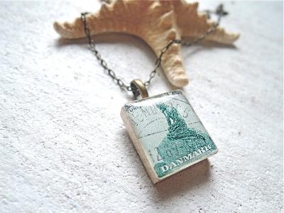 「人魚姫」スクラブルタイルのペンダント デンマークの切手