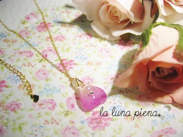 ◇k14gf◇ 薔薇の雫ネックレス pink