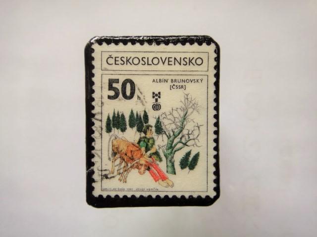 チェコスロバキア 切手ブローチ1149