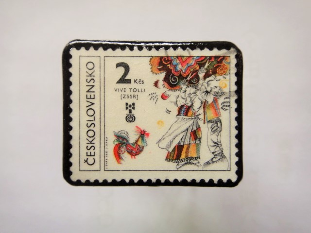 チェコスロバキア 切手ブローチ1151