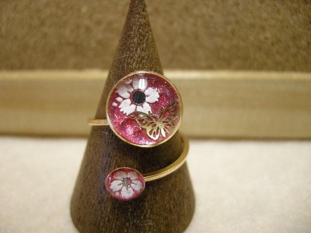*再販 桜と蝶々のリング ピンクver.*